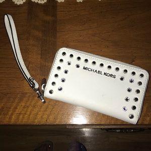 White studded Michael kors wristlet wallet